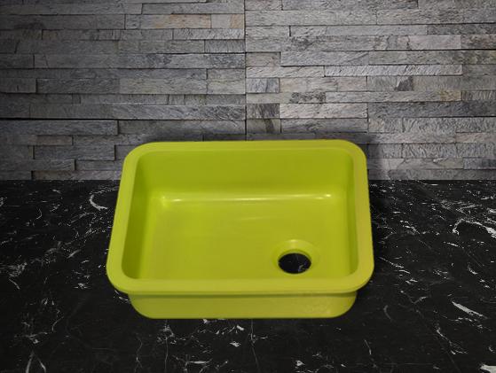 Vista de aplicación de Lavabo Quarzo Verde Milano Mini Cube Gloss