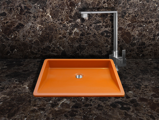 Vista de aplicación de Lavabo Quarzo Orange Oblique Gloss